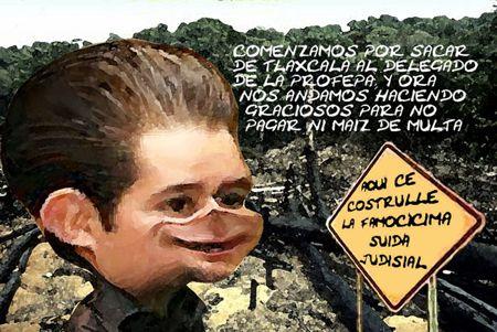 Caricatura 1, Arturo Tecuatl, Ciudad Judicial, Deforestacion, Consejero Juridico, Tlaxcala Online