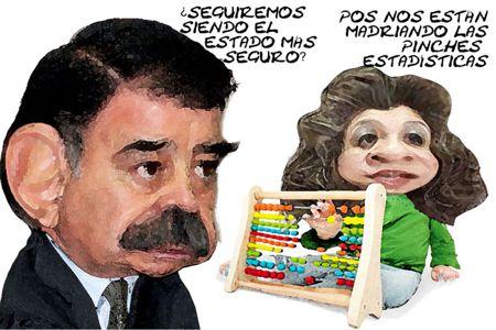Caricatura 1, Arturo Tecuatl, Estadisticas, Inseguridad, Mariano Gonzalez Zarur, Alicia Fragoso Sanchez, Tlaxcala Online