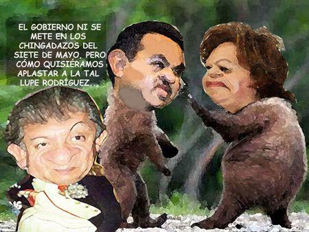 Caricatura 1, Arturo Tecuatl, Ingerencia Gobierno Siete Mayo, Violencia, Charro, Comic Politico