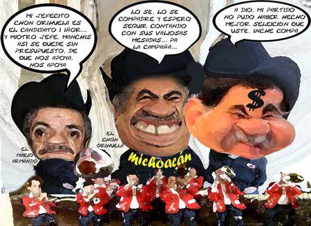 Caricatura 1 Asencion Orihuela, Mario Armando Mendoza, Mariano Gonzalez Zarur, Michoacan, Tlaxcala Online