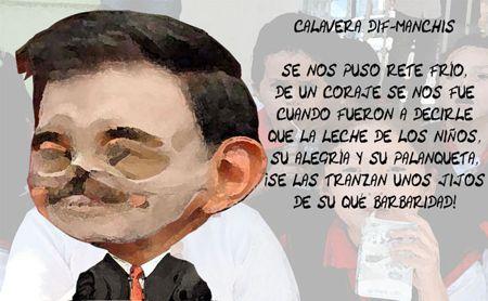 Caricatura 1, Calavera, Mariano Gonzalez Zarur, Leche DIF, Corrupcion, Tlaxcala Online