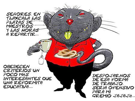 Caricatura 1, Corrupcion, Plazas Maestros, Tlaxcala, Ratas, Reforma Educativa, Comic Politico