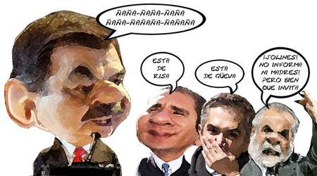 Caricatura 1, Cuarto Informe Mariano Gonzalez Zarur, Rafael Moreno Valle, Miguel Angel Mancera, Diego Fernandez Ceballos, Tlaxcala Online