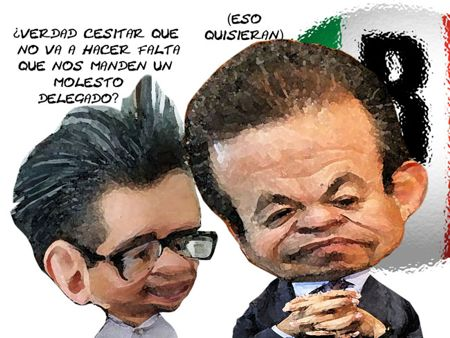 Caricatura 1, Falta Delegado CEN PRI, Ricardo Garcia Portilla, Cesar Camacho Quiroz, Tlaxcala Online