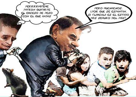 Caricatura 1 Orlando May Zaragoza Ayala, Mariano Gonzalez Zarur, Estado Mas Inseguro, Tlaxcala Online