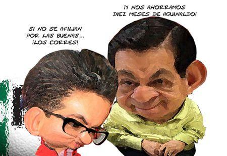 Caricatura 1, PRI, Afiliacion Forzosa, Ricardo Garcia Portilla, Ubaldo Velasco Hernandez, Tlaxcala Online