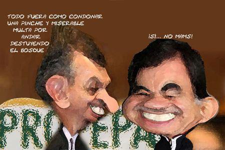 Caricatura 1, Profepa Perdona Multa Deforestacion, Guillermo Haro Belchez, Mariano Gonzalez Zarur, Tlaxcala Online