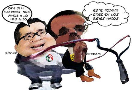 Caricatura 1, Ricardo Garcia Portilla, Manuel Cambron, PRI, PRD, Mandan Volar, Tlaxcala Online