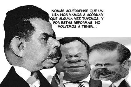 Caricatura 1 bn, Arturo Tecuatl, General Lazaro Cardenas, Jesus Zambrano, Gustavo Madero, Comic Politico