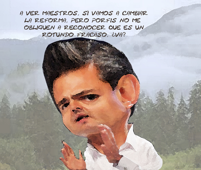 Caricatura Enrique Penia Nieto, Presidente, Reforma Educativa Fracaso, Tlaxcala Online