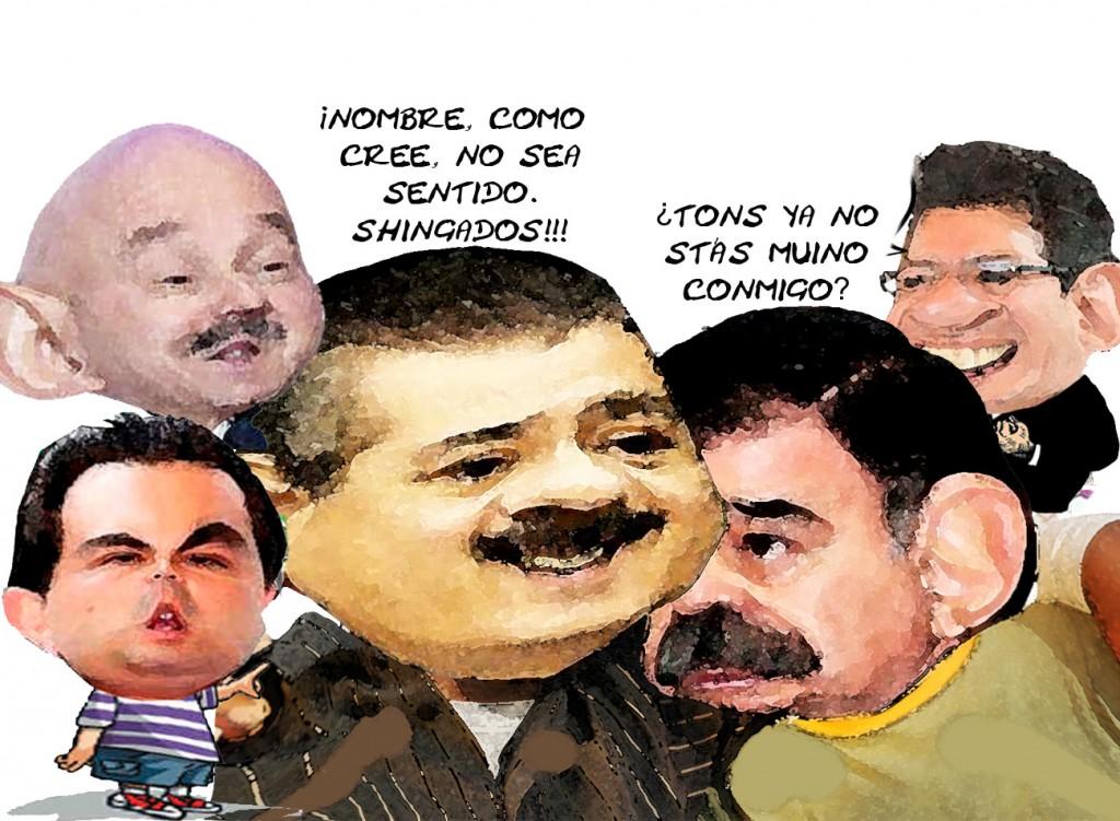 Caricatura Manlio Fabio Beltrones, Mariano Gonzalez, Aguirre, Carlos Salinas, Marco Antonio Mena, PRI, Tlaxcala En Linea