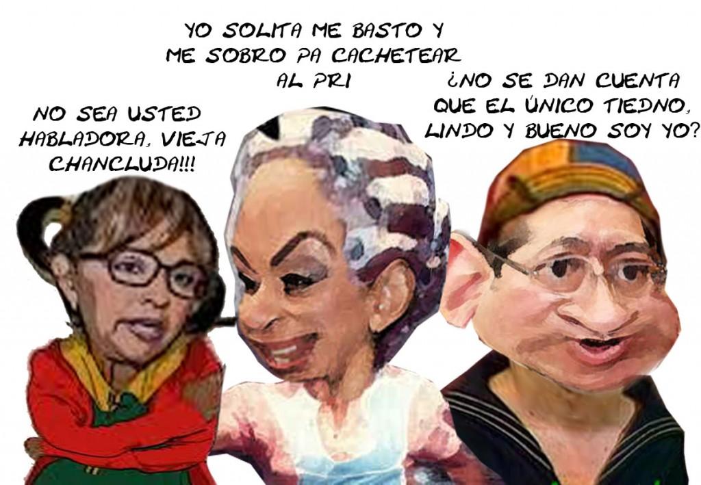 Chilindrina Lorena Cuellar, Florinda Adriana Davila, Quico Marco Antonio Mena, Carcicatura Tlaxcala En d