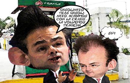 Enrique Penia Nieto, Caricatura 1, Videgaray Hacienda, Presidencia, Gazolinazo, Crisis, Tragedia, Tlaxcala Online