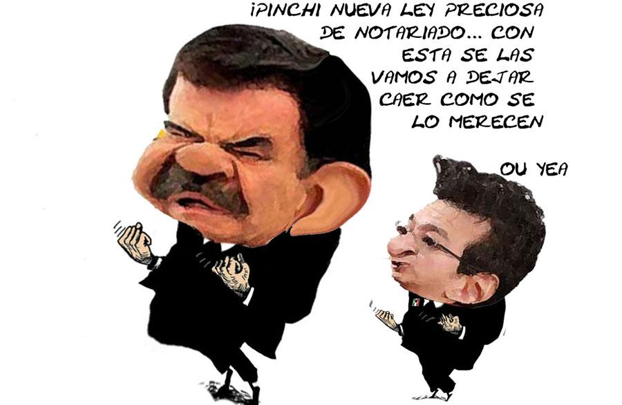 Ley Notariado Mariano Gonzalez Zarur, Marco Antonio Mena, PRI, Corrupcion, Caricatura, Tlaxcala En Linea