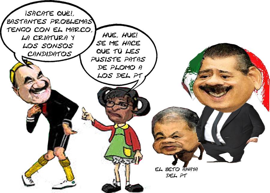 Lorena Cuellar Cisneros, PT, Mariano Gonzalez Zarur, Quico, Alberto Anaya, Manlio Fabio Beltrones, Caricatura, Tlaxcala Enlinea