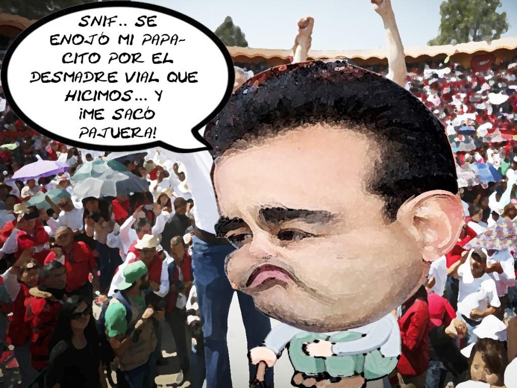 Mariano Gonzalez Aguirre, Lo Sacan Plaza Toros Caos Vial Apizaco PRI, Caricatura
