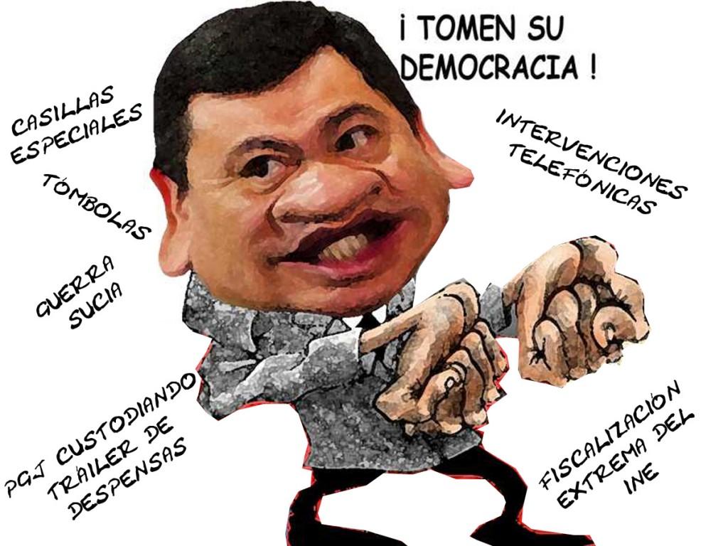 Miguel Angel Osorio Chong, Segob, Injerencia Elecciones, Guerra Sucia, Caricatura