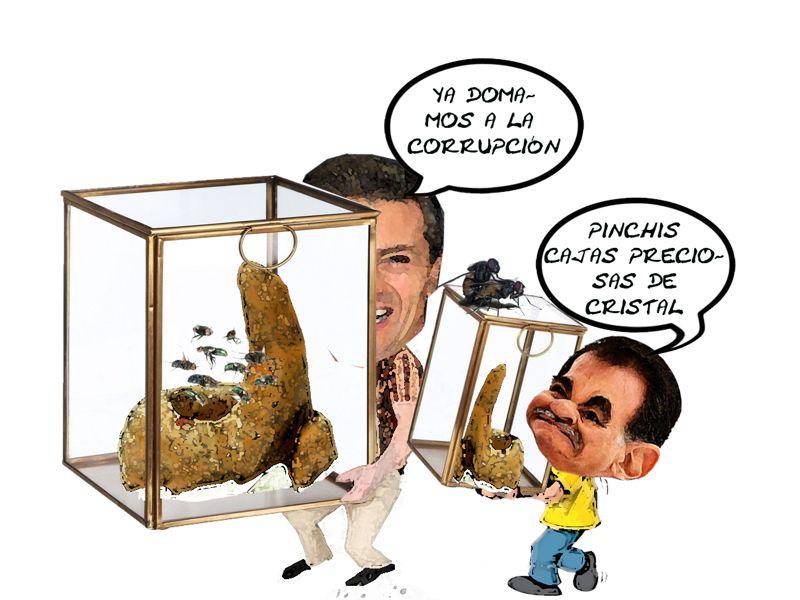 Presidente Enrique Pena Nieto, Domamos Corrupcion, Mariano Gonzalez Zarur, Caja Cristal, Caricatura, Tlaxcala Online