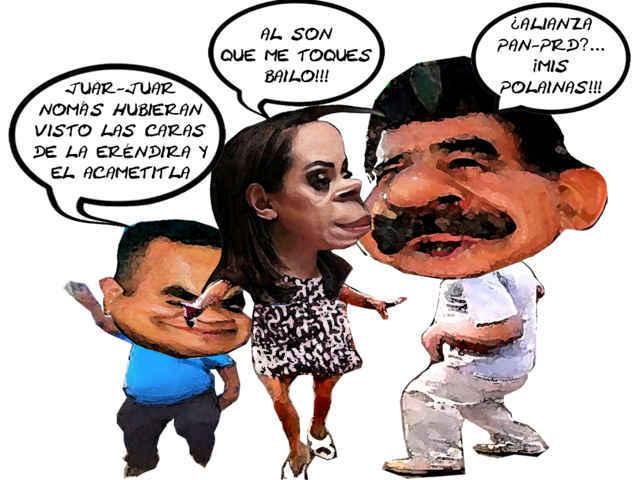 (etlaxcala) Alianza Perversa, Mariano Gonzalez Zarur, Adriana Davila Fernandez, Angelo Gutierrez, Caricatura, PAN PRI, Tlaxcala Online