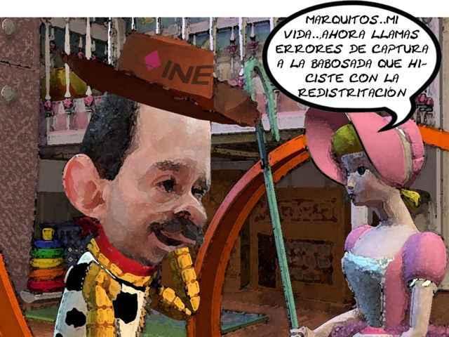 (etlaxcala) Errores, Redistritacion, Captura, Marcos Rodriguez Castillo, INE, Reforma Electoral, Caricatura, Tlaxcala Online
