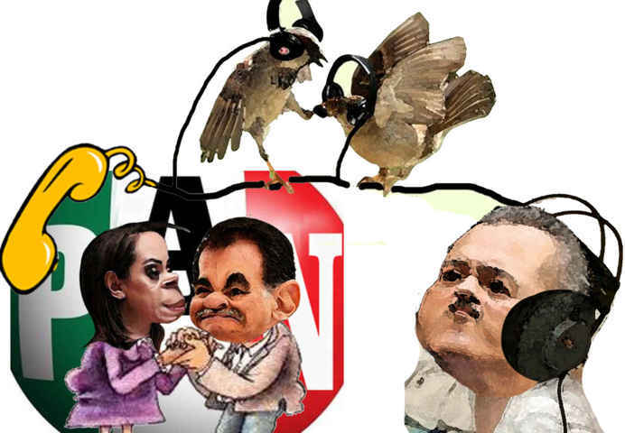 (etlaxcala) Espionaje Manlio Fabio Beltrones, Mariano Gonzalez, Adriana Davila, Caricatura, Tlaxcala Enlinea