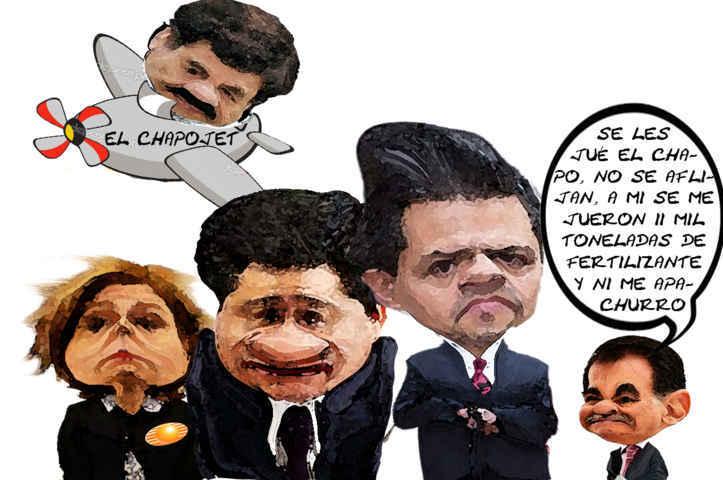 (etlaxcala) Fuga Chapo Guzman, Miguel Angel Osorio Chong, Arely Gomez, PGR, SEGOB, Ridiculo, Presidente Enrique Pena Nieto, Mariano Gonzalez Zarur, Caricatura