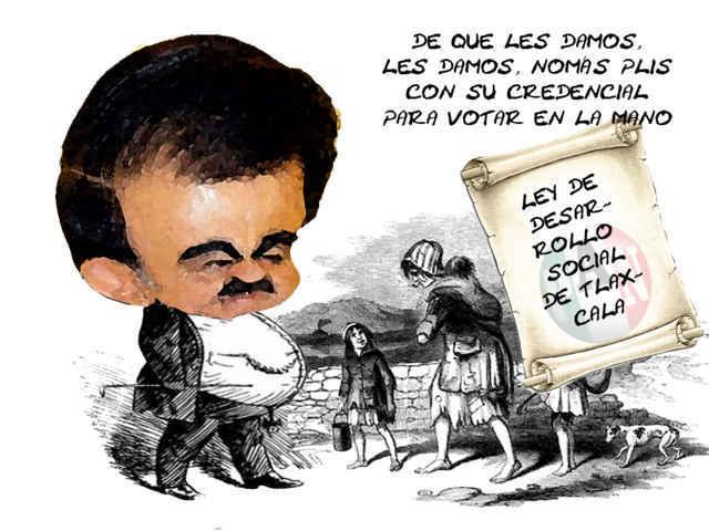 (etlaxcala) Mariano Gonzalez Zarur, Congreso Complice, Ley de Pobres, Desarrollo Social, Tlaxcala Online, Caricatura