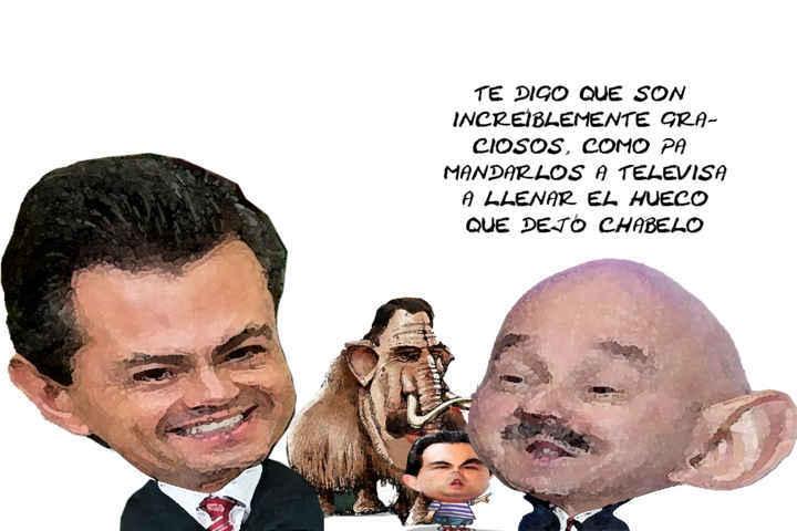 (etlaxcala) Presidente Enrique Pena Nieto, Carlos Salinas de Gortari, Mariano Gonzalez Aguirre, Zarur, Caricatura, Tlaxcala Online