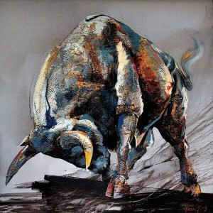 FOTO 4. Bull Fight se titula esta obra en colores metal