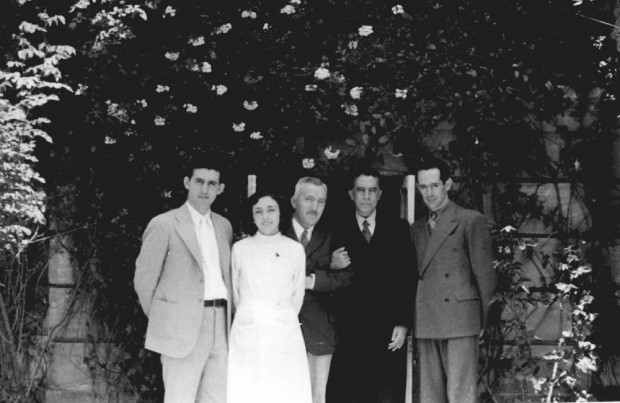 George Hines Lowery, Amelia Samano Bishop, Emil Witschi, Isaac Ochoterena, and unidentified man, Biological Institute, Mexico City