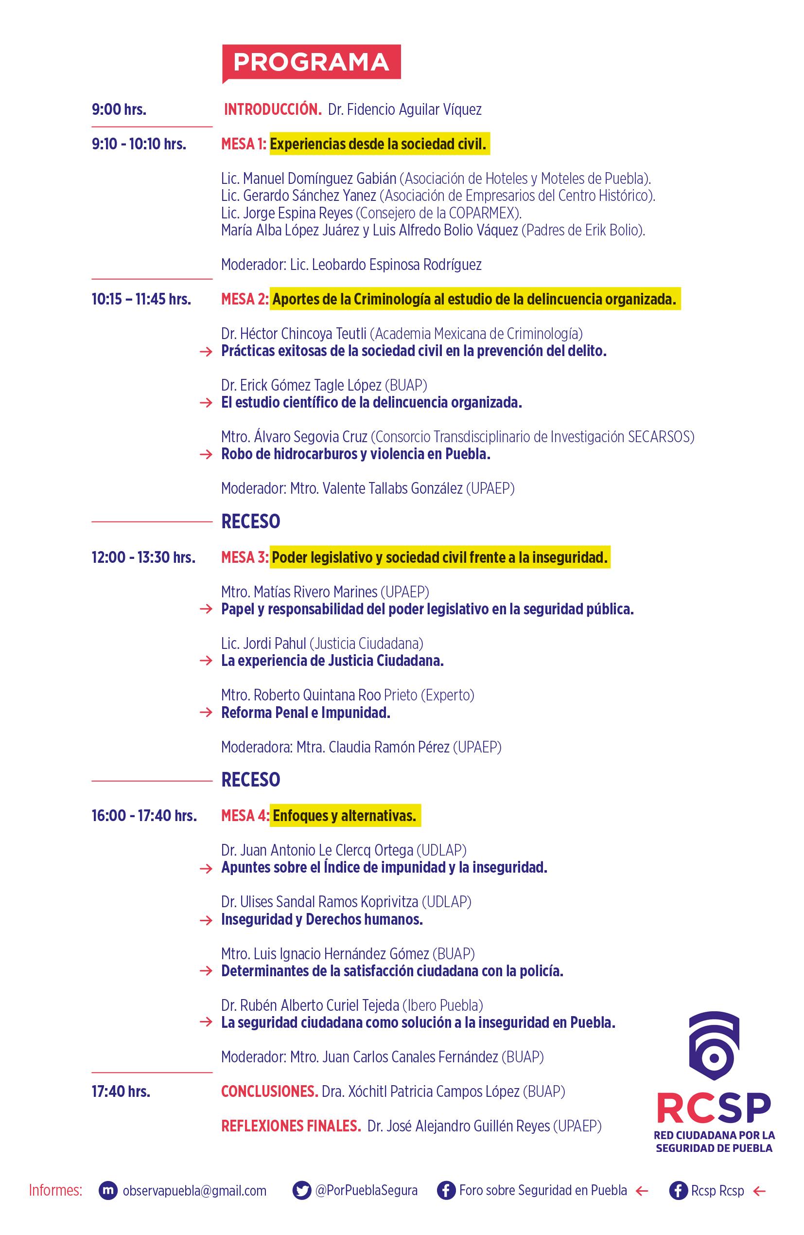 Programa Foro RCSP