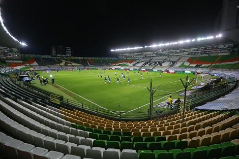 LEON, MEXICO - MARZO 2: Vista general durante el juego de la jornada 9 del Torneo Guard1anes 2021 de la Liga BBVA MX en el Estadio Nou Camp el 2 de Marzo de 2021 en Leon, Mexico. (Foto: Cesar Gomez/JAM MEDIA)